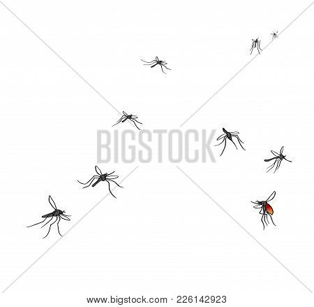 A Flock Of Flying Mosquitoes. Drunk Blood And Hungry Mosquitoes. Silhouette, Graphic Image. Vector,