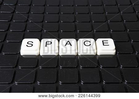 Space Text Word Title Caption Label Cover Backdrop Background. Alphabet Letter Toy Blocks On Black R