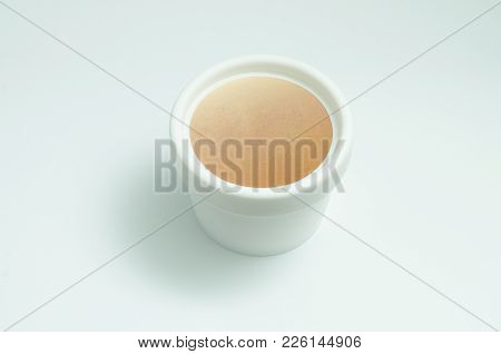 Open White Cream Jar With White Lotion Isolated On White Background. Skin Care Product Package. Opaq