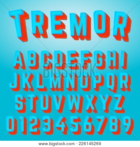 Alphabet Font Template. Set Of Letters And Numbers Tremor Design. Vector Illustration.