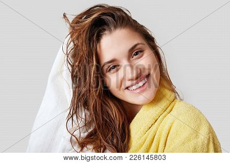 Lovely Female With Wet Hair, Takes Shower, Dries Head With Towel, Being Pleased After Taking Bath, D