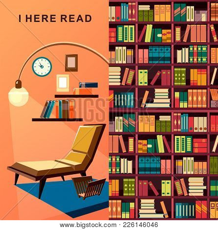 Vector Illustration Vertical Postcard Place For Rest Reading Sofa With Lamp Reading Room