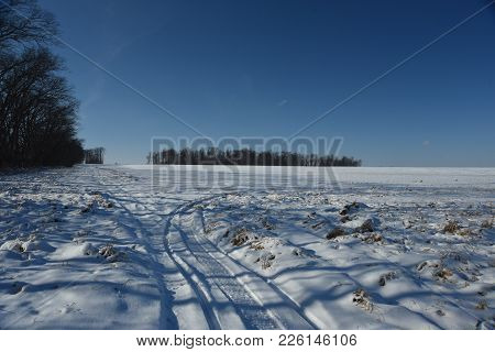 Snow Mobile Tracks On A Snow Covered Vast Open Farm Land Field Beside A Row Of Trees In Winter Cover