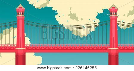 Vector Illustration Of A Red Bridge On A Sky Background With Clouds, Summer Sunny Day