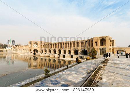 Khaju Bridge, Also Pol-e Khaju, Built By King Shah Abbas Ii During Safavid Era. Serving As A Bridge