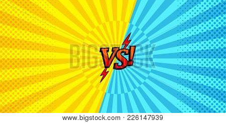 Comic Versus Horizontal Background With Two Opposite Yellow And Blue Sides, Halftone And Radial Effe