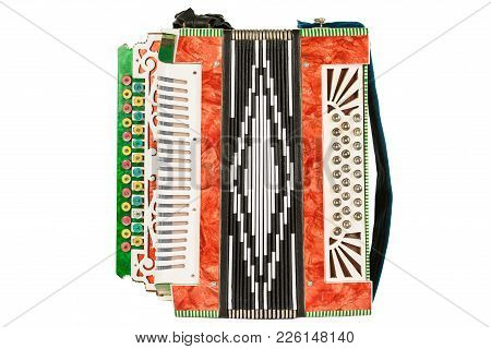 Old Accordion Isolated On White Background. Accordion