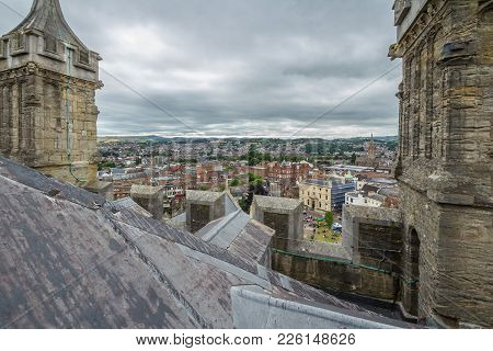 View Of The City From The Roof Of The Cathedral Of The Exeter. Devon. Uk