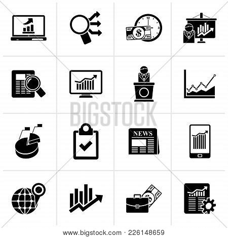 Black Business And Market Analysis Icons - Vector Icon Set