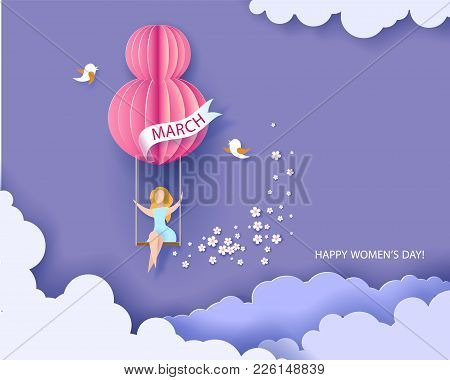 Card For 8 March Womens Day. Woman On Swing. Abstract Background With Text And Flowers .vector Illus