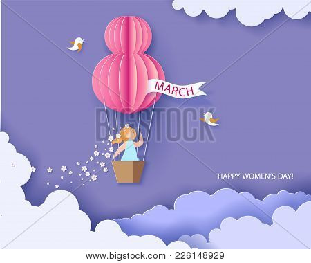 Card For 8 March Womens Day. Woman In Basket Of Hot Air Balloon. Abstract Background With Text And F