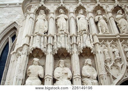 Details Of The Design Of The Exterior Of The Exeter Cathedral. Protected By A Grid. Exeter. Devon. E