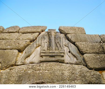 Lions At The Gate In Mycenae,  Greece.