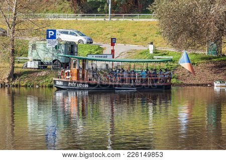 Prague - July 14: Small Ferry Boat Baba Docked At Pier And Awaits Passengers On June 14, 2017 In Pra