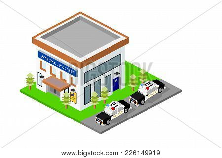 Isometric Police Station Building With Cars And Landscape, Eps Vector Format, Jpeg