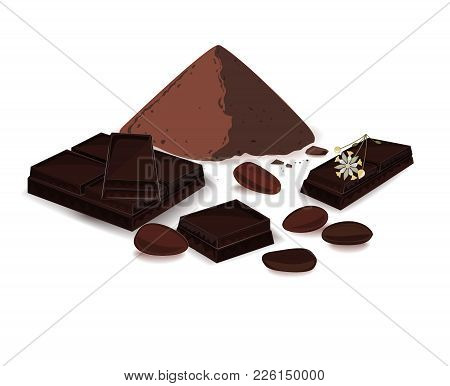 Vector Illustration, Banner With Cocoa Powder, Chocolate Bar, Cocoa Beans, And Cocoa Tree Flower. Pr