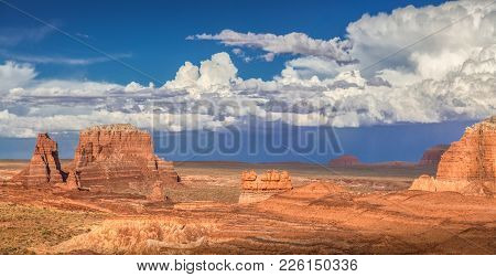 Panoramic View Of Stunning Hoodoos Sandstone Formations In Famous Goblin Valley State Park On A Beau