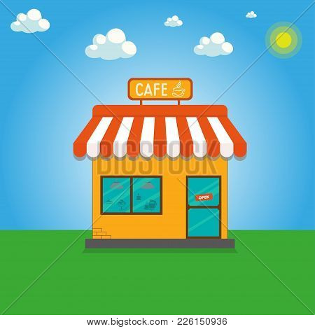 Street Cafe. Coffeeshop. City Cafe. Urban Spring Summer Landscape. Sun, Blue Sky And Several Clouds.
