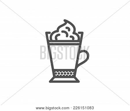 Latte Coffee With Whipped Cream Icon. Hot Drink Sign. Beverage Symbol. Quality Design Element. Edita