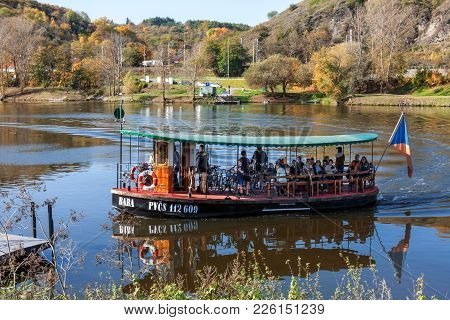 Prague - July 14: Small Ferry Boat Baba Does His Daily Sail On June 14, 2017 In Prague, Czech Republ