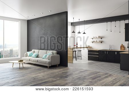 Side View Of Modern Studio Interior With City View, Copy Space On Wall And Furniture. 3d Rendering