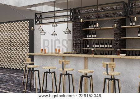 Modern Loft Bar Or Pub Interior With Empty Billboard On Wall. Alcohol And Leisure Concept. Mock Up,
