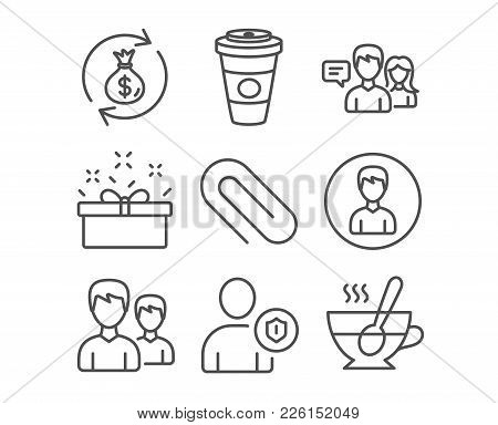 Set Of Present Box, People Talking And Couple Icons. Money Exchange, Paper Clip And Security Signs.