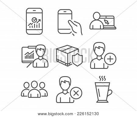 Set Of Remove Account, Presentation And Online Education Icons. Hold Smartphone, Smartphone Statisti