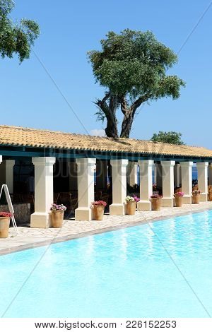 The Restaurant And Swimming Pool In Hotel, Corfu, Greece