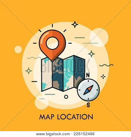 World Map, Destination Point Pin And Compass. Gps Navigation And Location Search Concept, Touristic