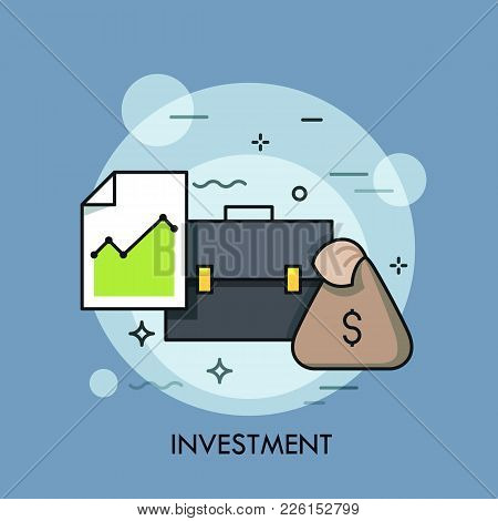 Briefcase, Document With Graph And Moneybag. Investment, Banking, Stock Exchange, Market Trading, Br