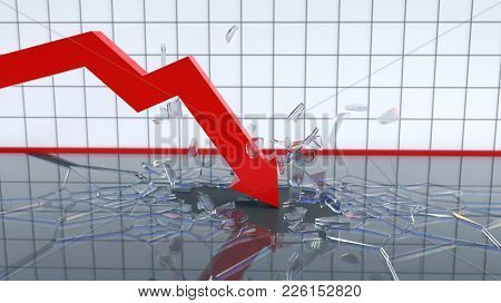 falling chart breaks the bottom, 3d illustration