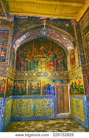 Isfahan, Iran - October 20,2017: The Last Supper Icon In Armenian Orthodox Bethlehem Church, Located