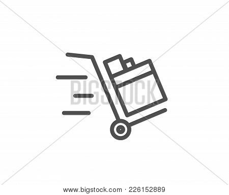 Push Cart Line Icon. Delivery Service Sign. Express Shipping Symbol. Quality Design Element. Editabl