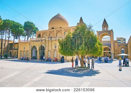 Isfahan, Iran - October 20,2017: The Numerous Tourists Visit Medieval Armenian Orthodox Vank Cathedr