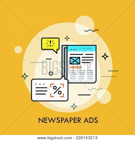 Business Newspaper With Advertisements And Speech Bubbles. Announcement In Periodical, Marketing Met