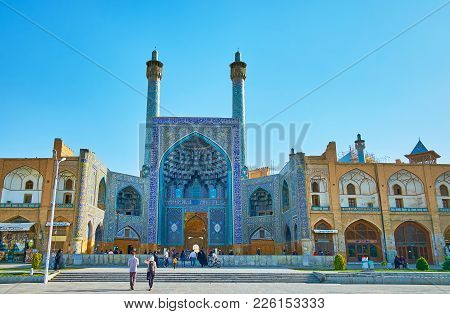 Isfahan, Iran - October 20, 2017: The Iwan (portal) Of Shah Mosque In Naqsh-e Jahan Square, Decorate