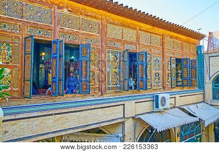 Isfahan, Iran - October 20, 2017: The Famous Nagsh-e Jahan Banquet Hall Is Housing In Historical Man
