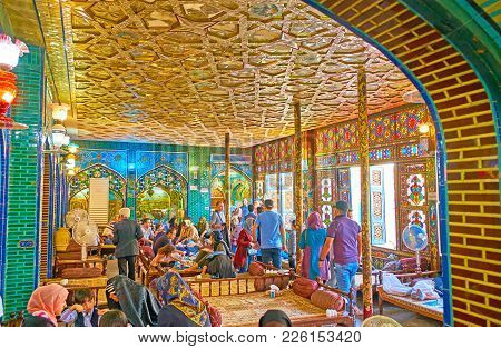 Isfahan, Iran - October 20, 2017: The Splendid Hall Of Nagsh-e Jahan Restaurant, Located In Historic
