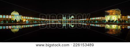The Night Panorama Of Naqsh-e Jahan Square With Its Landmarks - The Qapu Palace, Imam Mosque, Sheikh