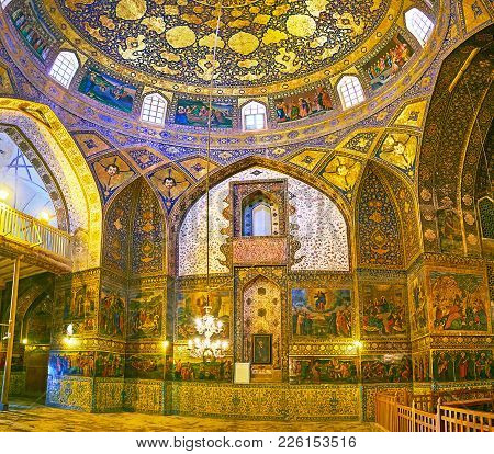 Isfahan, Iran - October 20,2017: The  Richly Decorated Prayer Hall Of Armenian Orthodox Bethlehem Ch