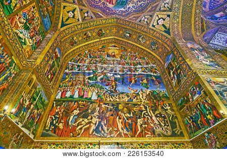 Isfahan, Iran - October 20,2017: The Giant Pannel In Holy Savior Cathedral (surb Amenaprkich Vank) D