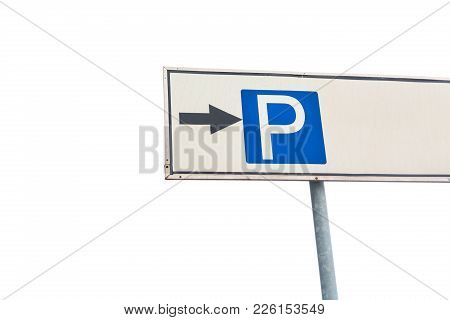 Blue Parking Sign Isolated On White Background