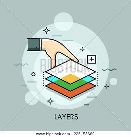 Hand Holding Three Translucent Layers. Layered Graphics, Digital Design Software, Image Editing, Vis