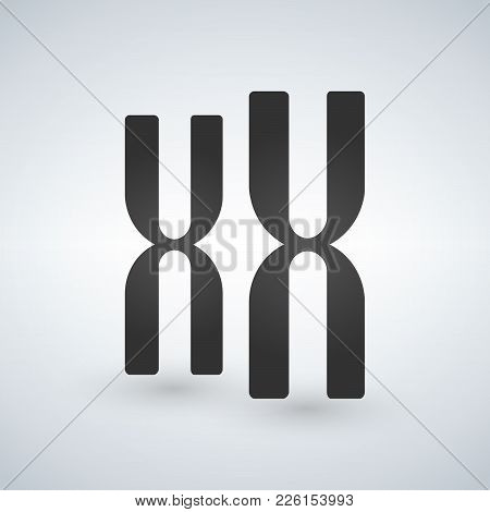 Chromosomes Vector Icon. Style Is Flat Symbol, Grey Color, Isolated On White Background