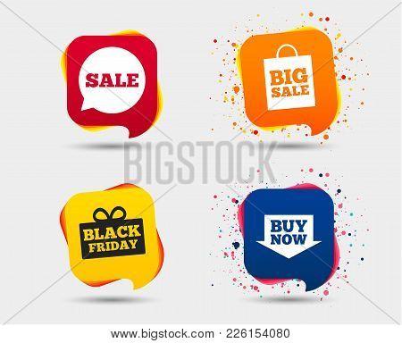 Sale Speech Bubble Icons. Buy Now Arrow Symbols. Black Friday Gift Box Signs. Big Sale Shopping Bag.
