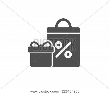 Gift Box With Shopping Bag Simple Icon. Present Or Sale Sign. Birthday Shopping With Discounts Symbo