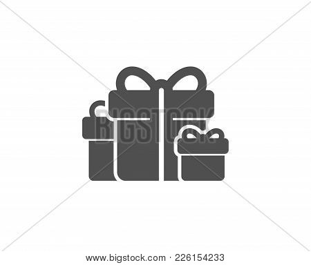 Gift Boxes Simple Icon. Present Or Sale Sign. Birthday Shopping Symbol. Package In Gift Wrap. Qualit