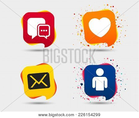 Social Media Icons. Chat Speech Bubble And Mail Messages Symbols. Love Heart Sign. Human Person Prof