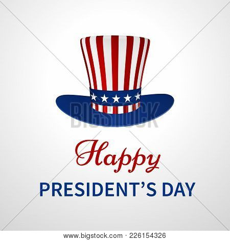 Happy Presidents Day Banner With Hat In Us Flag Design